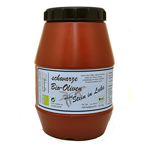 direct&friendly Bio Oliven schwarz ohne Stein in Lake Kalamata (1,8 kg Kanister)