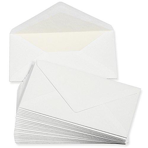 PREMIUM Briefumschläge DIN lang weiss, gefüttert (50 Stück) weiß mit Innenfutter/Seidenfutter