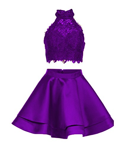 Satin Lace Halter Short Prom Dress Two Pieces Homecoming Dresses (US2, Purple)