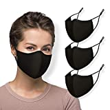 WITH U Washable Reusable Face Masks - 3-Layer Protections, Adjustable Ear Loops - Made in USA - PM4001 Black Regular (3 Packs)