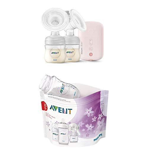 Philips Avent elektrische Milchpumpe SCF397/11 Doppelpumpe, flexibles Silikonkissen, Natural Flasche, leiser Motor, rosa + Mikrowellen-Sterilisationsbeutel, mehrfarbig