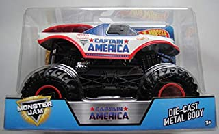 Hot Wheels Monster JAM 1:24 Scale, 2017 Release Captain America