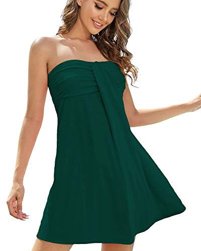 AS ROSE RICH Women's Strapless Bathing Suit Coverups Elastic Ruched Tube Top Beach Mini Dress Large Storm Green