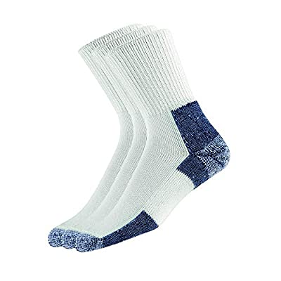 Thorlos XJ Max Cushion Running Crew Socks, White/Navy (3 Pair Pack), Extra Large