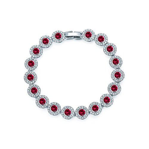 MYJS Angelic tenis pulsera chapado en rodio con color rojo rubí cristales de Swarovski de novia, boda regalo de dama