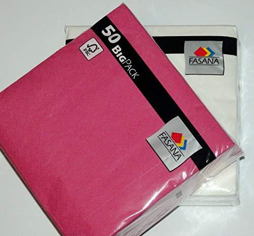 50 x weiß + 50 x love pink = 100 Stück FASANA Servietten in Kombination, Papierservietten, angenehm weiche Mundservietten, 33x33 cm 13x13 inch, 3-lagig, 1/4 Falz