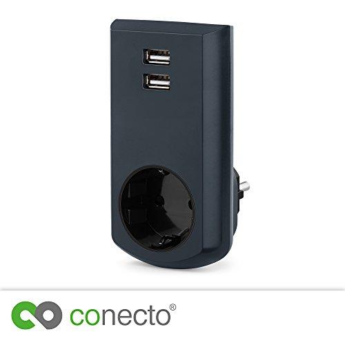 conecto CC50249 Schutzkontakt (Schuko) -Steckdose mit 2 USB Anschlüssen (2,1A/5V), Schwarz