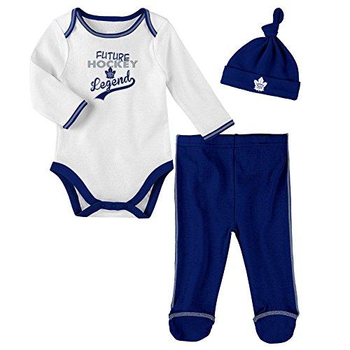 NHL Toronto Maple Leafs Children Unisex Future Legend Onesie, Pant & Hat Set, 3-6 Months, White