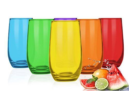 Sendez 6 Bunte Trinkgläser 320ml Wassergläser Saftgläser Cocktailgläser Longdrinkgläser