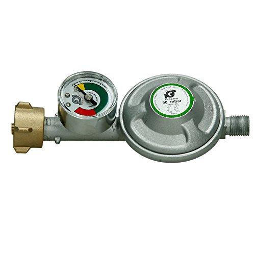 ECD Germany Druckminderer 50 mbar - mit Manometer - für Brenner - Druckregler Gasdruckminderer Niederdruckregler Gasregler Gasbrenner Gas Propan