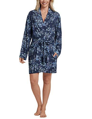 Schiesser Damen Mantel, 90cm Kimono, Blau (Dunkelblau 803), 44 (Herstellergröße: 044)