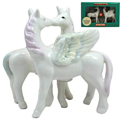 Ebros Gift Rare Legendary Mythical Horses Kissing Unicorn and Pegasus Ceramic Magnetic Salt And Pepper Shakers Set Figurines Heavenly Equine Steeds Dinnerware Serveware Collectible