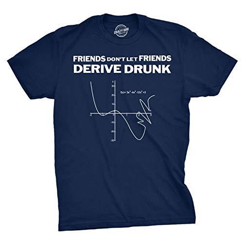Don't Drink and Derive T Shirt Funny Math Teacher Hilarious Drinking Graph Tee (Navy) - XL