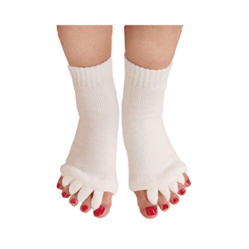 Natural Home Damen Zehenspreizer Wellness Socken Zehentrenner Pediküre Fuß Massage Socken (Beige)