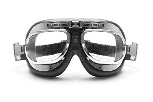 BERTONI Gafas Moto Mascara Vintage Aviadoras - Montura de Acero Cromo - Lentes Anti-Vaho Resistente a los Impactos - AF191CRA by Italy