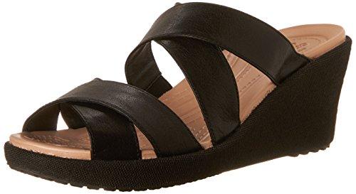 crocs Women's A-Leigh Crisscross W Wedge Sandal, Black/Black, 8 M US