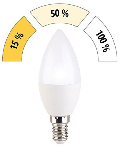 Preisvergleich Produktbild Luminea LED E14 dimmbar: LED-Kerze,  3 Helligkeits-Stufen,  tageslichtweiß,  6500 K,  5, 5 W,  E14 (LED-Lampen für E14-Lampenfassungen)