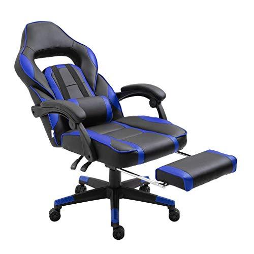 Gaming Stuhl Race Büro Stuhl Gamer Ergonomischer Stuhl Drehstuhl Computer Stuhl Ergonomie Konferenz Stuhl Arbeits Stuhl Lordosenstütze PU-Leder Verstellbarer Arbeitsstuhl (Blau mit Fußstütze)