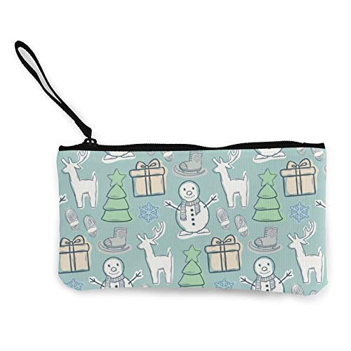XCNGG Snowman Pattern Fashion Coin Purse Bag Canvas Small Change Pouch Multi-Functional Cellphone Bag Wallet Cosmetic Makeup Bag