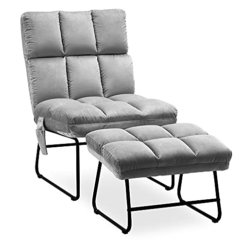 MCombo Sessel mit Hocker, bis 130KG belastbarer Relaxsessel für Wohnzimmer, moderner Fernsehsessel Loungesessel Stuhl, Samt, 0014 (grau)
