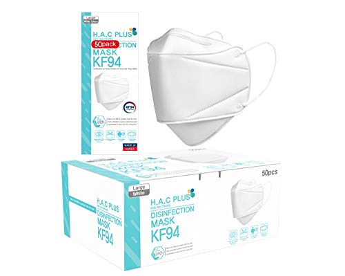 [50 Pack] KF94 Face Mask for Adult, Protective Mask, H.A.C PLUS, Sold by DM DEVELOPMENT CO [Made in KOREA] [English Packing]