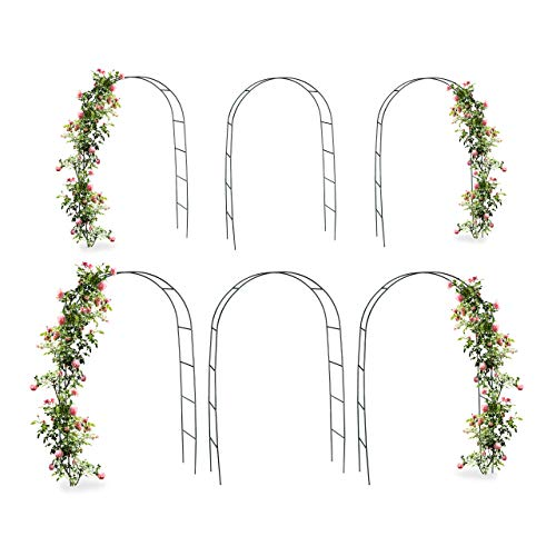 Relaxdays 6X Torbogen, Rankhilfe Kletterpflanzen Rosen, Rosenbogen Metall, witterungsbeständig, HBT: 240 x 140 x 38 cm, dunkelgrün