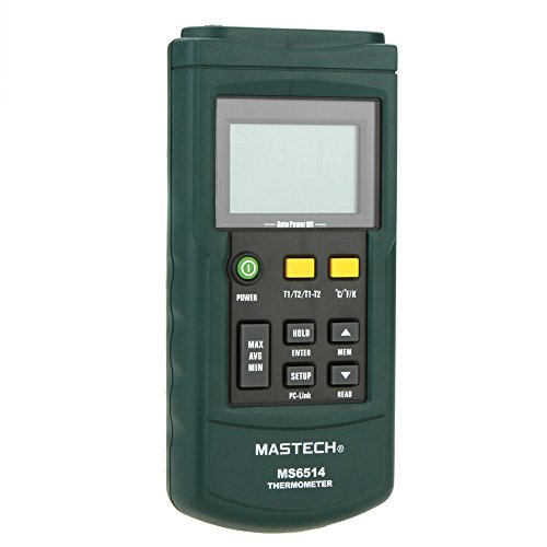 Mastech MS6514 Dual Channel Digital Thermometer Temperature logger Tester USB Interface 1000 data