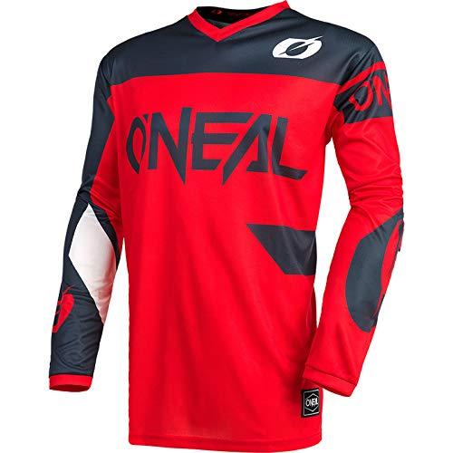 O'NEAL | Motocross-Trikot | Enduro MX | Atmungsaktiv, Gepolsterter Ellbogenschutz, Passform für maximale Bewegungsfreiheit | Element Jersey Racewear | Erwachsene | Rot Grau | Größe L