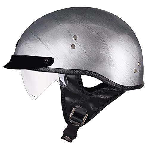 ZHANGYUEFEIFZ Retro Casco Moto Abierto Hombre Mujer ECE Homologado Cascos Moto Half Helmet con Visera Casco Moto Jet para Scooter Mofa Crash (Color : D, Size : (L/59-60CM))