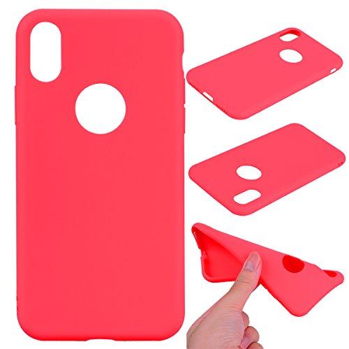 LeviDo Coque Compatible pour iPhone X Étui Silicone Souple Bumper Antichoc TPU Gel Cover Bonbons Couleurs Design Ultra Fine Mince Caoutchouc Etui, Rouge