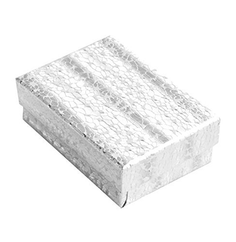 Lot of 100 pcs 3 1/4 x 2 1/4 x 1 Silver Foil Cotton Filled Jewelry Boxes by Tioneer