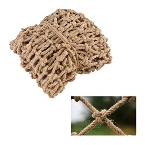 Child Safety Net for Balcony, Stairs and Railing Retro Hemp Rope Garden Decoration Net Photo Wall Restaurant Bar Kindergarten Ceiling Net Cargo Anti-fall Net Sports Stadium Fence Net Hand-woven Rope M