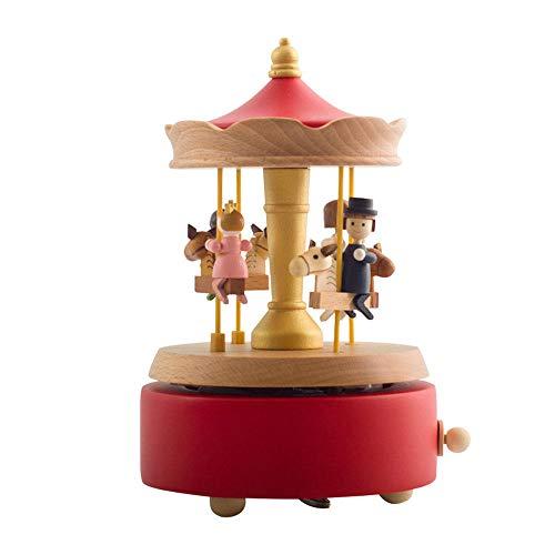 PZMXR Carrusel Caja de Música Carrusel Caja Musical de Madera La Mejor Idea de Regalo y decoración para cumpleaños Artesanías exquisitas
