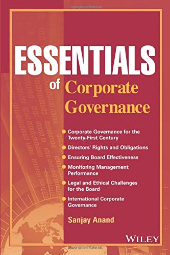 Compare Textbook Prices for Essentials of Corporate Governance  ISBN 9780470139813 by Anand, Sanjay