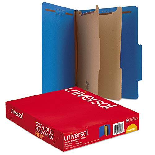 Unknown1 Pressboard Classification Folders Letter Six-Section Cobalt Blue 10/Box