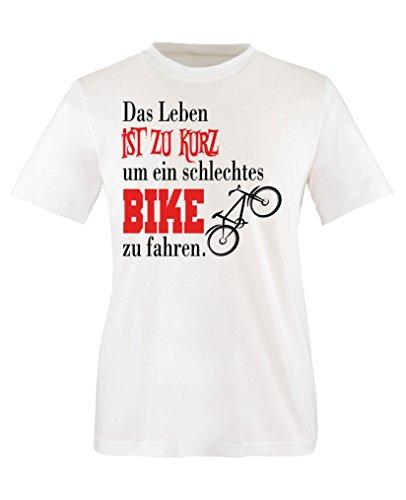 Comedy Shirts - Das Leben ist zu kurz um EIN schlechtes Bike zu Fahren - Mädchen T-Shirt - Weiss/Schwarz-Rot Gr. 86/92