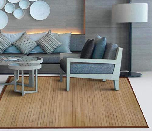 TIENDA EURASIA® Alfombra de Bambú - Alfombras Fabricadas en Madera de Bambú Ecológica - Disponibilidad en 2 Colores - Ideal para Cualquier Estancia del hogar (Natural, 140 X 200 CM)