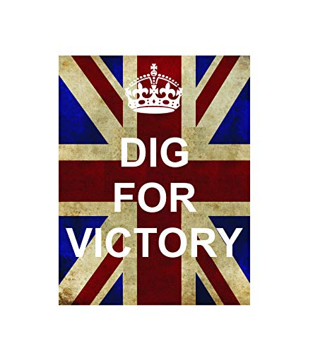 Dig for Victory Keep Calm Ww2 Vintage Style Metal Advertising Wall Plaque Sign Or Framed Picture Frame,Aluminum Metal Signs Tin Plaque Wall Art Poster for Home Decor 12