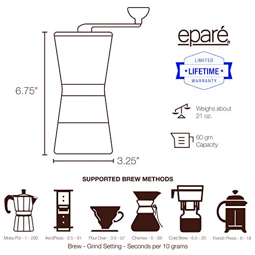 Eparé Manual Coffee Grinder – Conical Ceramic Burr – Portable Hand Crank Mill- 15 Adjustable Settings - Stainless Steel