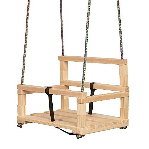 Sedia a dondolo altalena in legno per bambini sopra i 36 mesi con barriera di sicurezza e cinghia