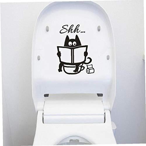 Amoyer Lindo Gato de Dibujos Animados Shh WC Pegatinas Cuarto de baño WC la Puerta del Asiento Decorativo de la decoración de la Etiqueta Cartel Divertido Vinilo removible Arte Mural