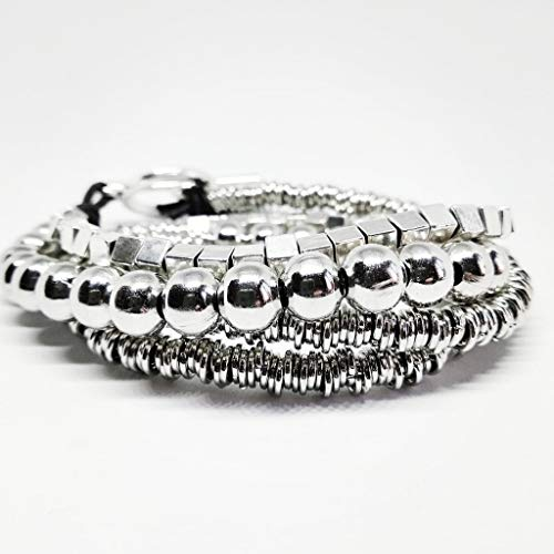 Pulsera Uno de Tres. Pulsera mujer color plata y cuero, collar corto, largo y brazalete estilo uno de 50 antialérgica piedras naturales y zamak. Regalo Cumpleaños Navidad San Valentin Boda