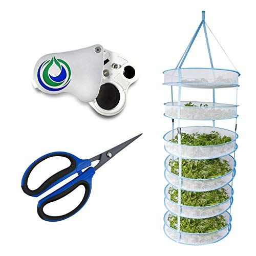 Happy Hydro Harvest Bundle with 6-Tier Drying Rack, LED Magnifier & Trimming Scissors
