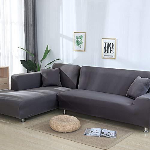 OKJK Sofa überzug Ecksofa, Sofaüberwurf L Form,wasserdicht Elastisch Maschinenwaschbar, Sofabezüge, Für Wohnzimmer Sofa Protector, Bestellen Sie 2 Stück (Grey,2-Seater 145-185cm)