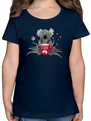 Städte & Länder Kind - I Love Australien Koala - 164 (14/15 Jahre) - Dunkelblau - Kinder Koala Shirt - F131K - Mädchen Kinder T-Shirt