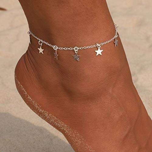 Simsly Beach Tassell Anklet Star Ankle Bracelet Foot Jewelry Adjustable for Women and Girls (Silver)