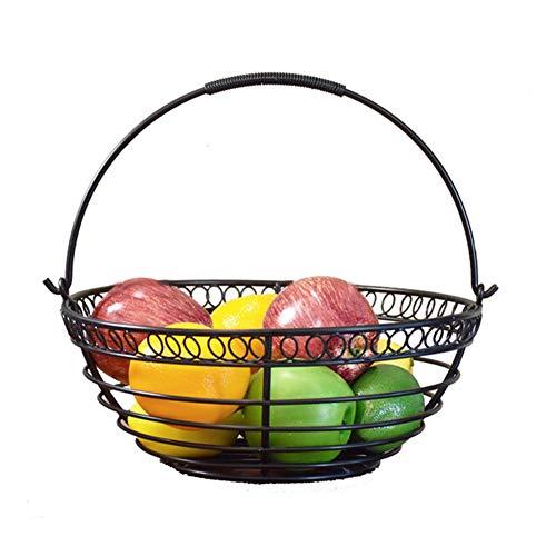 Moderne fruitmand, fruitetagère met handvat, metalen fruitschaal voor meer ruimte op het aanrecht, decoratieve fruitmand, zwart