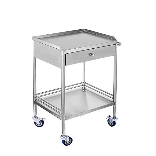 2 Layers Household Utility Carts, Stainless Steel Lab Cart Mobile Trolley Serving Equipment with Drawers and Silent Omnidirectional Wheel (Single Drawer)