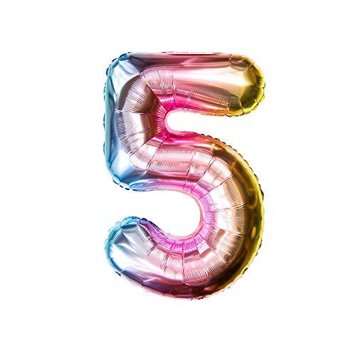 Oblique Unique® Folien Luftballon mit Zahl Nummer für Kinder Geburtstag Jubiläum Silvester Party Deko Folienballon in Regenbogenfarben Farbmix - Zahl wählbar (Nr 5)