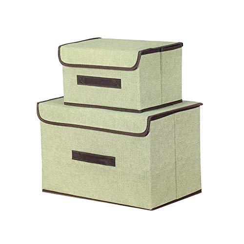 AYCPG Conjunto de 2 Cajas de Almacenamiento de Telas con Tapas de Almacenamiento Plegable del Organizador de Cubo. lucar (Color : Green)